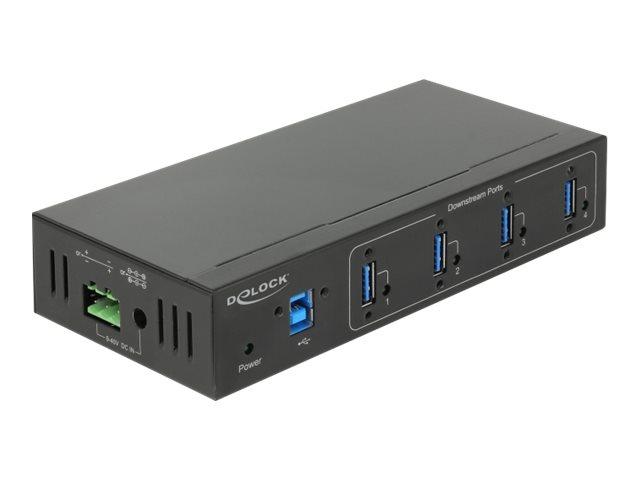 DeLock External Industry Hub 4 x USB 3.0 Type-A with 15 kV ESD protection - Hub - 4 x SuperSpeed USB 3.0 - wandmontierbar - Glei
