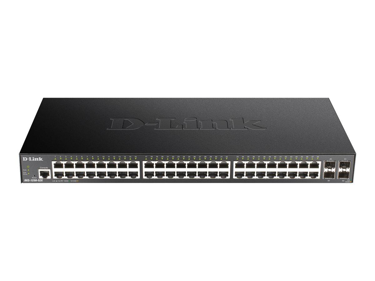 D-Link DGS 1250-52X - Switch - L3 Lite - Smart - 48 x 10/100/1000 + 4 x 10 Gigabit SFP+ - an Rack montierbar