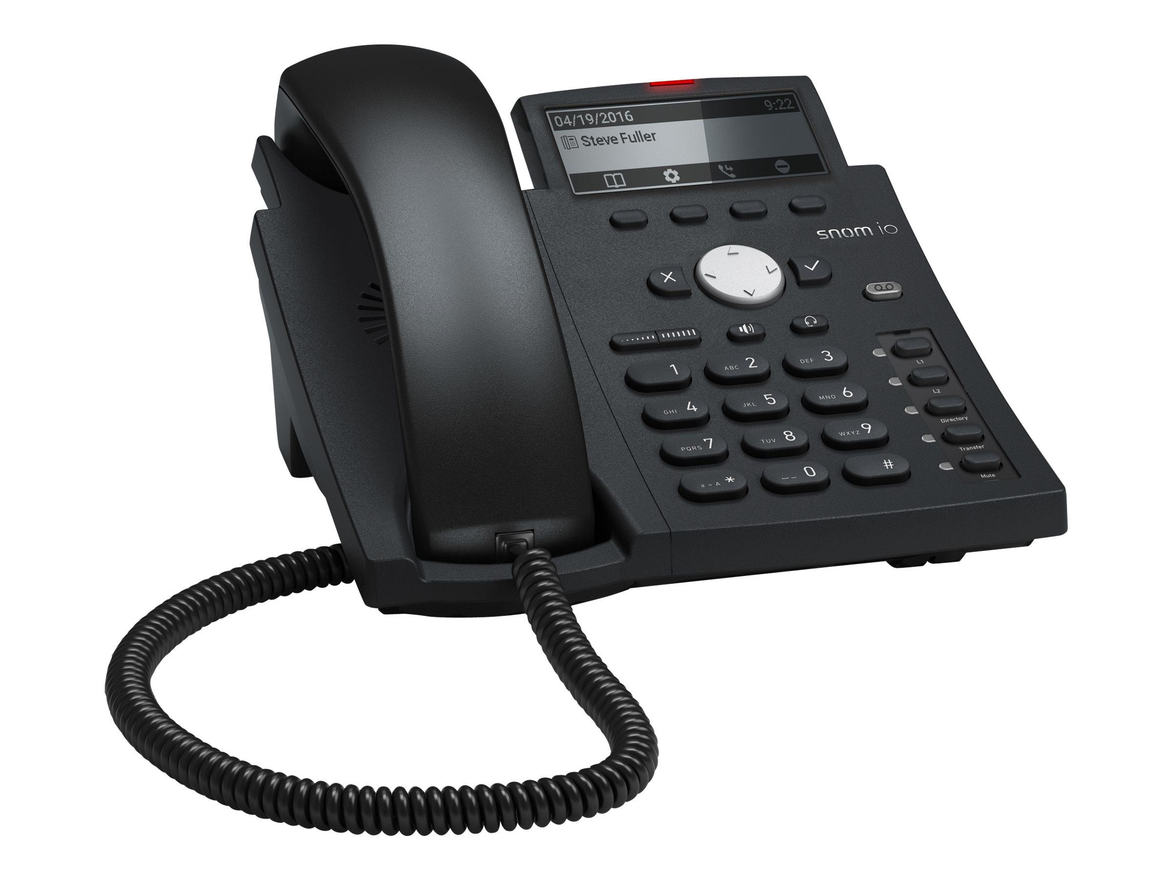 snom D315 - VoIP-Telefon - dreiweg Anruffunktion - SIP - 4 Leitungen - schwarz blau