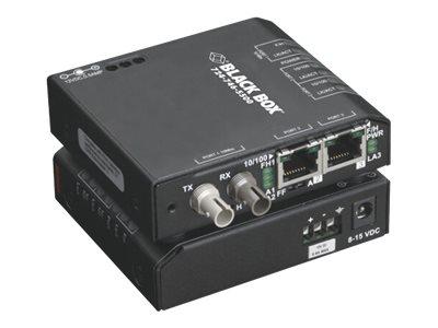 Black Box Extreme Media Converter Switch 12-VDC - Medienkonverter - 100Mb LAN - 10Base-T, Glasfaser, 100Base-TX - RJ-45 / ST mul