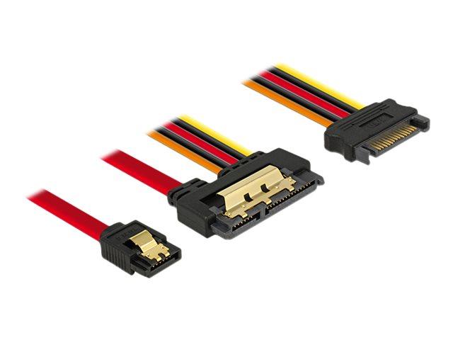 DeLOCK - SATA-Kabel - Serial ATA 150/300/600 - SATA Combo (R) bis SATA, SATA-Stromstecker - 30 cm - eingerastet