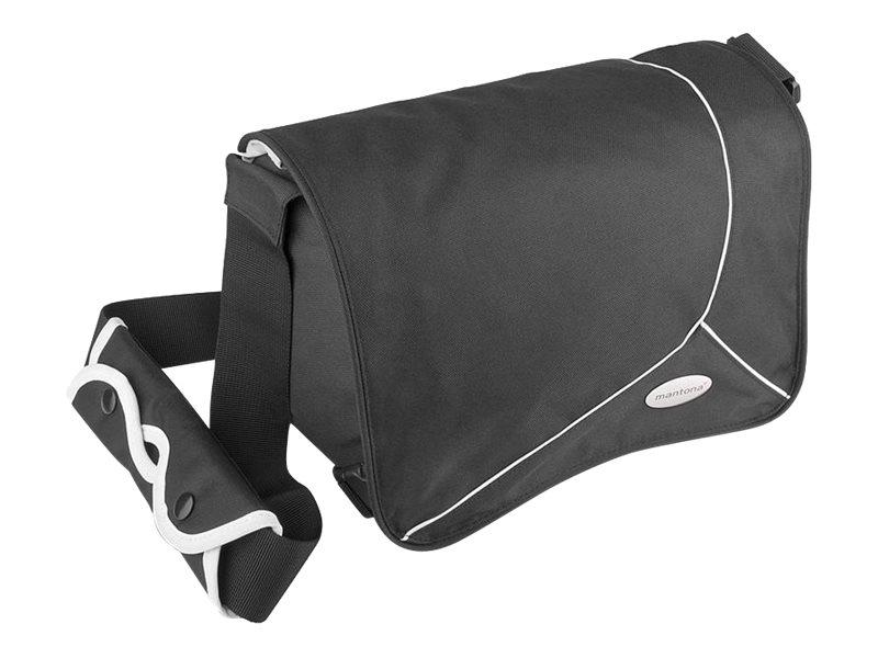 mantona Mondstein - Schultertasche für Kamera - Polyester - Schwarz mit weissen Streifen