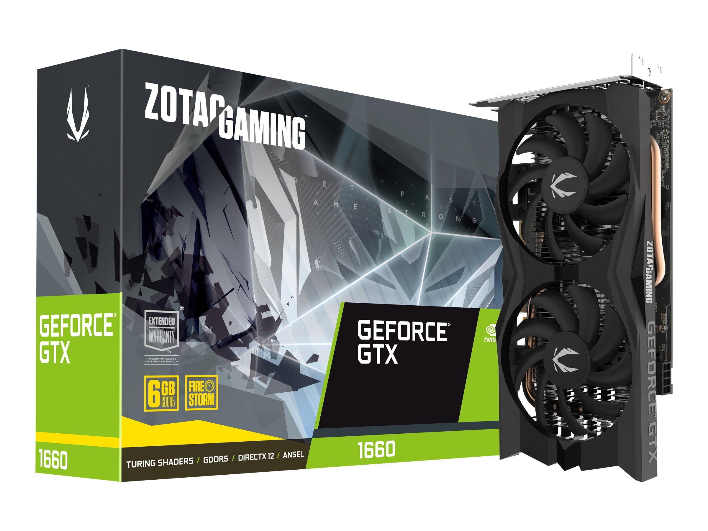 ZOTAC GAMING GeForce GTX 1660 Twin Fan - Grafikkarten - GF GTX 1660 - 6 GB GDDR5 - PCIe 3.0 x16 - HDMI, 3 x DisplayPort
