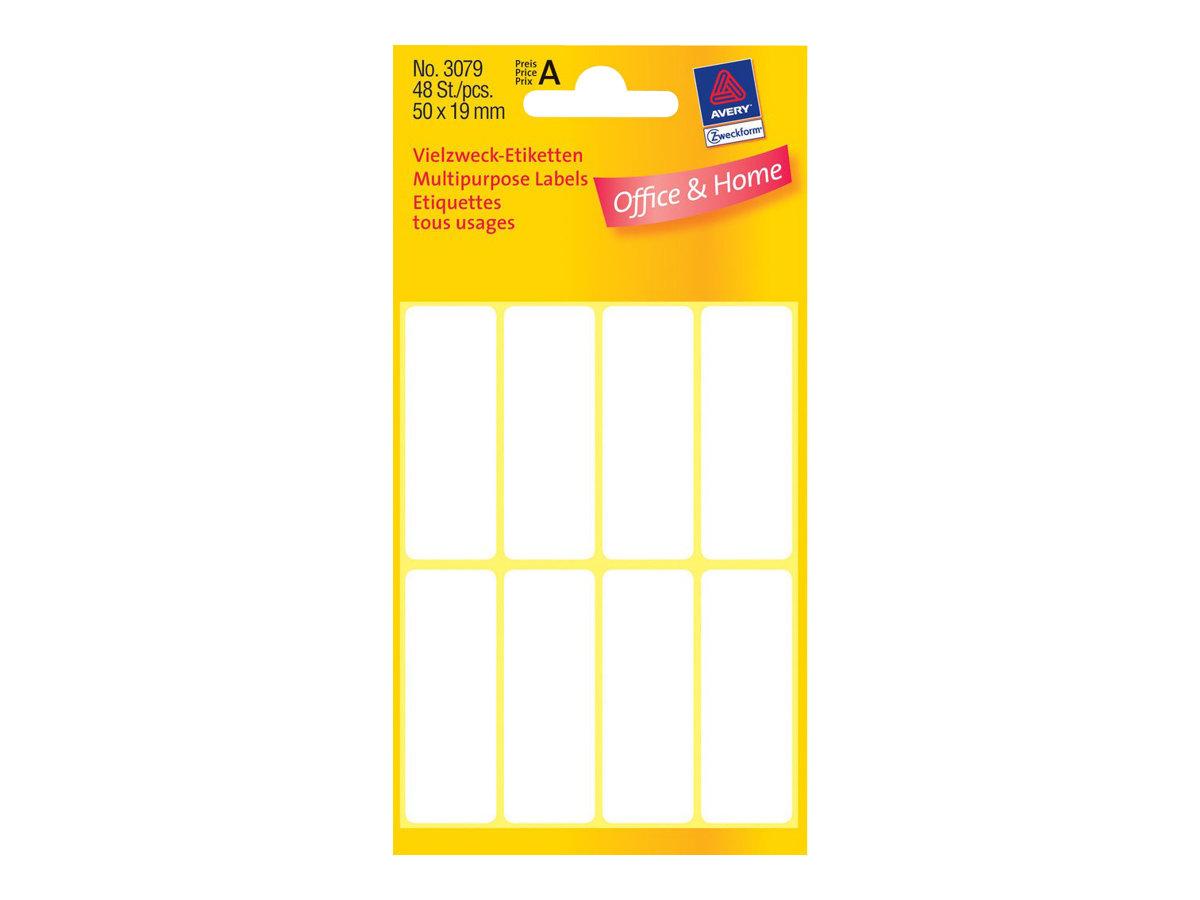 Avery Zweckform - Weiss - 19 x 50 mm 48 Etikett(en) (6 Bogen x 8) Mehrzwecketiketten