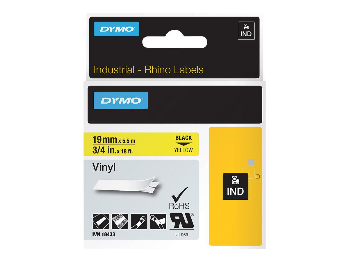 DYMO - Selbstklebend - Schwarz auf Gelb - Roll (1.9 cm x 5.5 m) 1 Rolle(n) Vinyl - für Rhino 4200, 6000, 6000 Hard Case Kit; Rhi