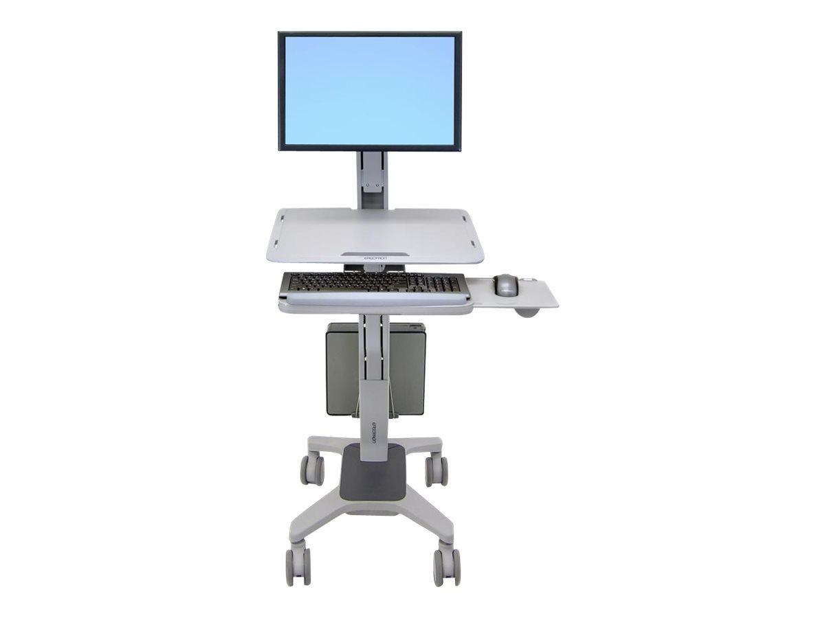 Ergotron WorkFit-C Single LD Sit-Stand Workstation - Sitz-/ Stehtisch - mobil - Büro - Rechteckig mit abgerundetem Ecken - Grau
