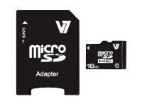 V7 VAMSDH16GCL10R-2E - Flash-Speicherkarte (microSDHC/SD-Adapter inbegriffen) - 16 GB - Class 10 - microSDHC