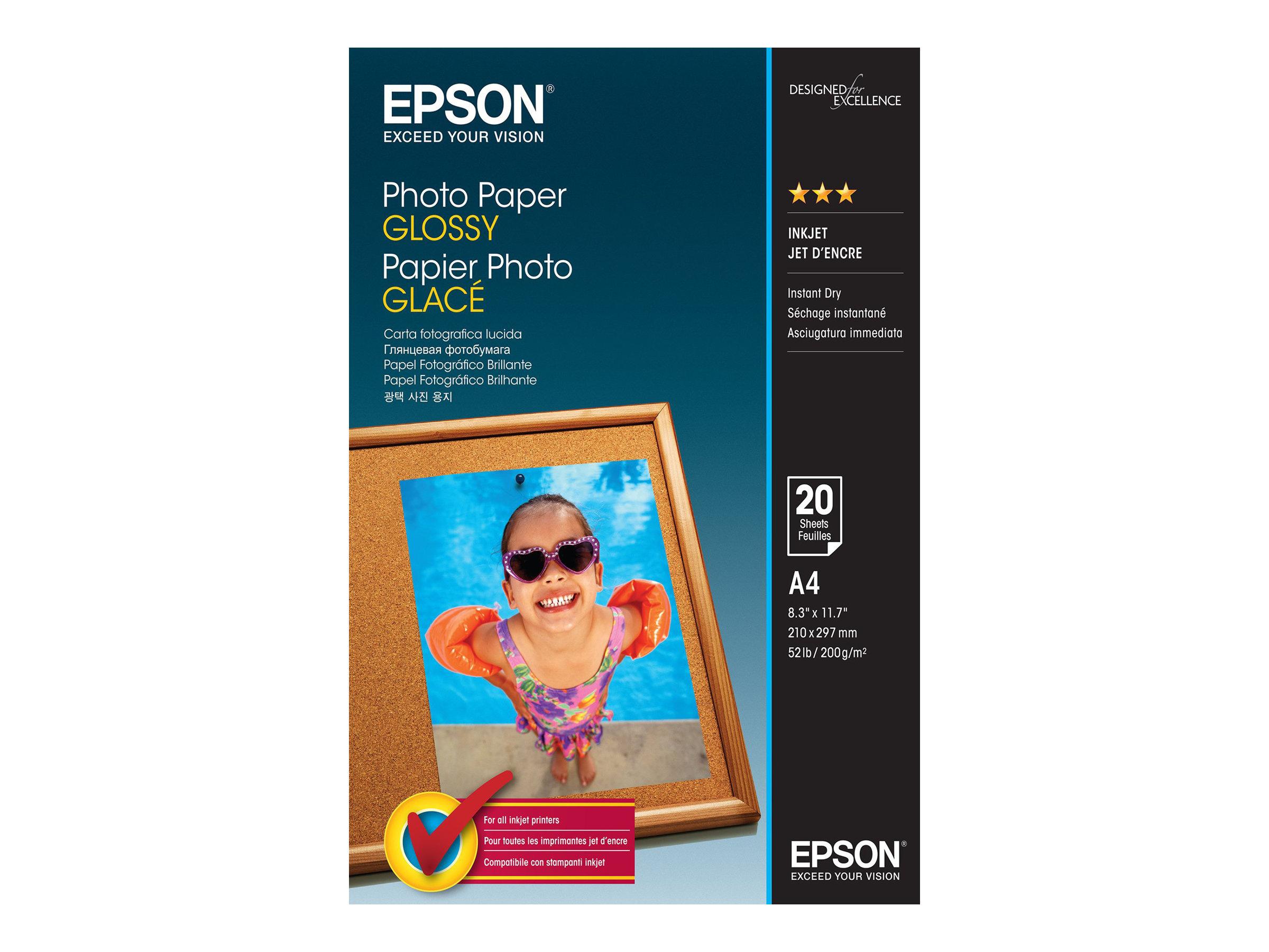 Epson - Glänzend - A4 (210 x 297 mm) - 200 g/m² - 20 Blatt Fotopapier - für EcoTank ET-1110, 2751, 2756; WorkForce ET-4700, WF-7