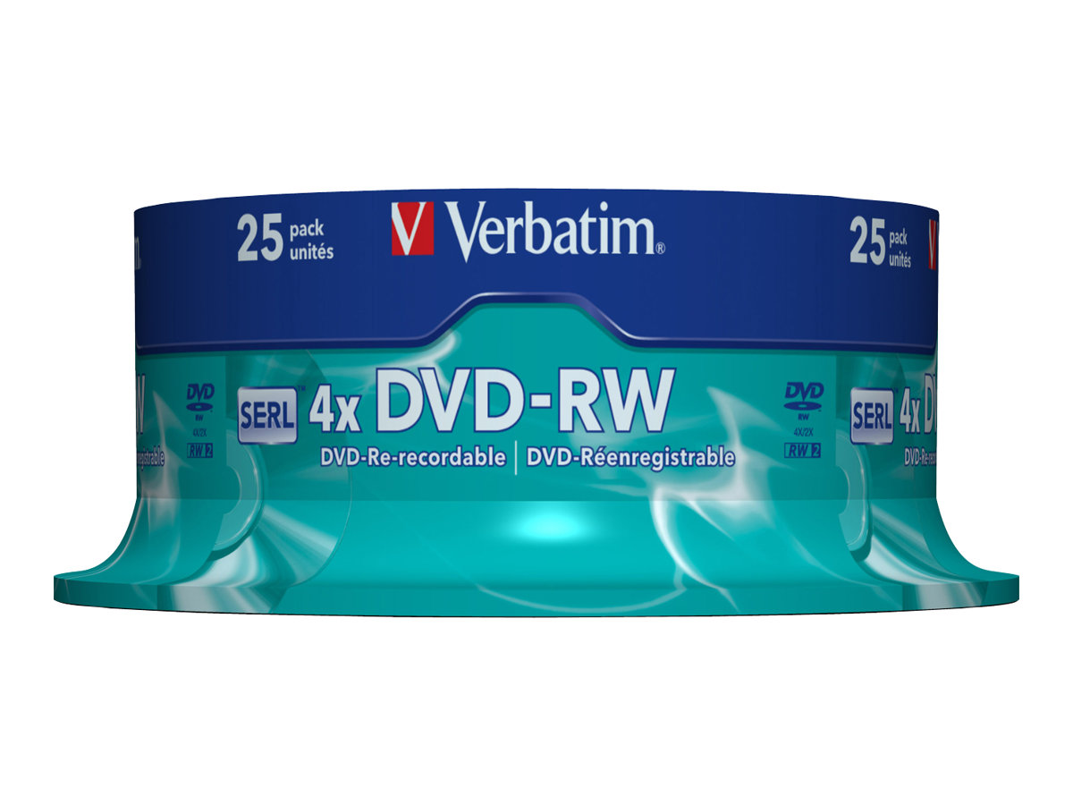 Verbatim - 25 x DVD-RW - 4.7 GB (120 Min.) 4x - mattsilber - Spindel