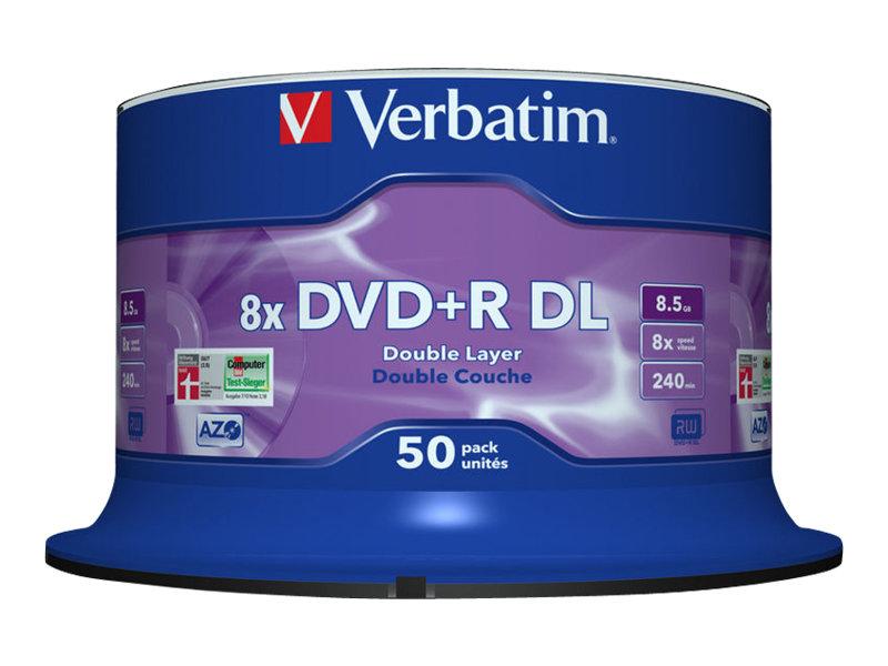 Verbatim - 50 x DVD+R DL - 8.5 GB (240 Min.) 8x - mattsilber - Spindel