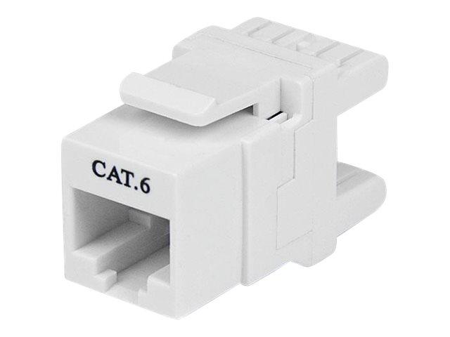 StarTech.com 180 Degree Cat 6 Keystone Jack - RJ45 Ethernet Cat6 Wall Jack White - 110 Type - Keystone Jack 180 Degree 110 UTP (