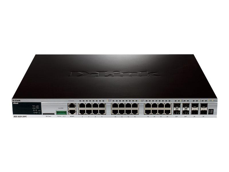 D-Link xStack DGS-3420-28PC - Switch - managed - 24 x 10/100/1000 + 4 x Kombi-Gigabit-SFP + 4 x 10 Gigabit SFP+ - an Rack montie