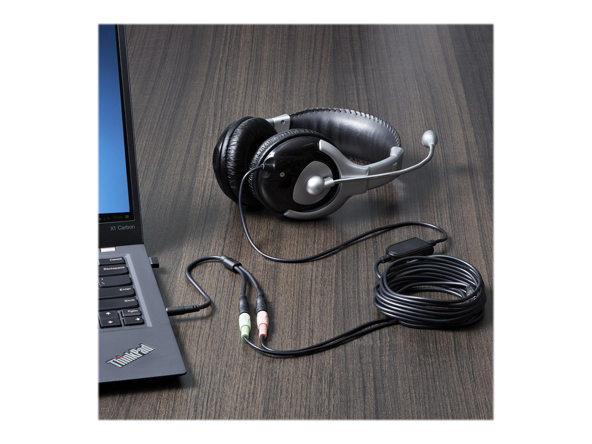 StarTech.com 3,5mm Klinke Audio Y-Kabel - 4 pol. auf 3 pol. Headset Adapter für Headsets mit Kopfhörer / Microphone Stecker - St