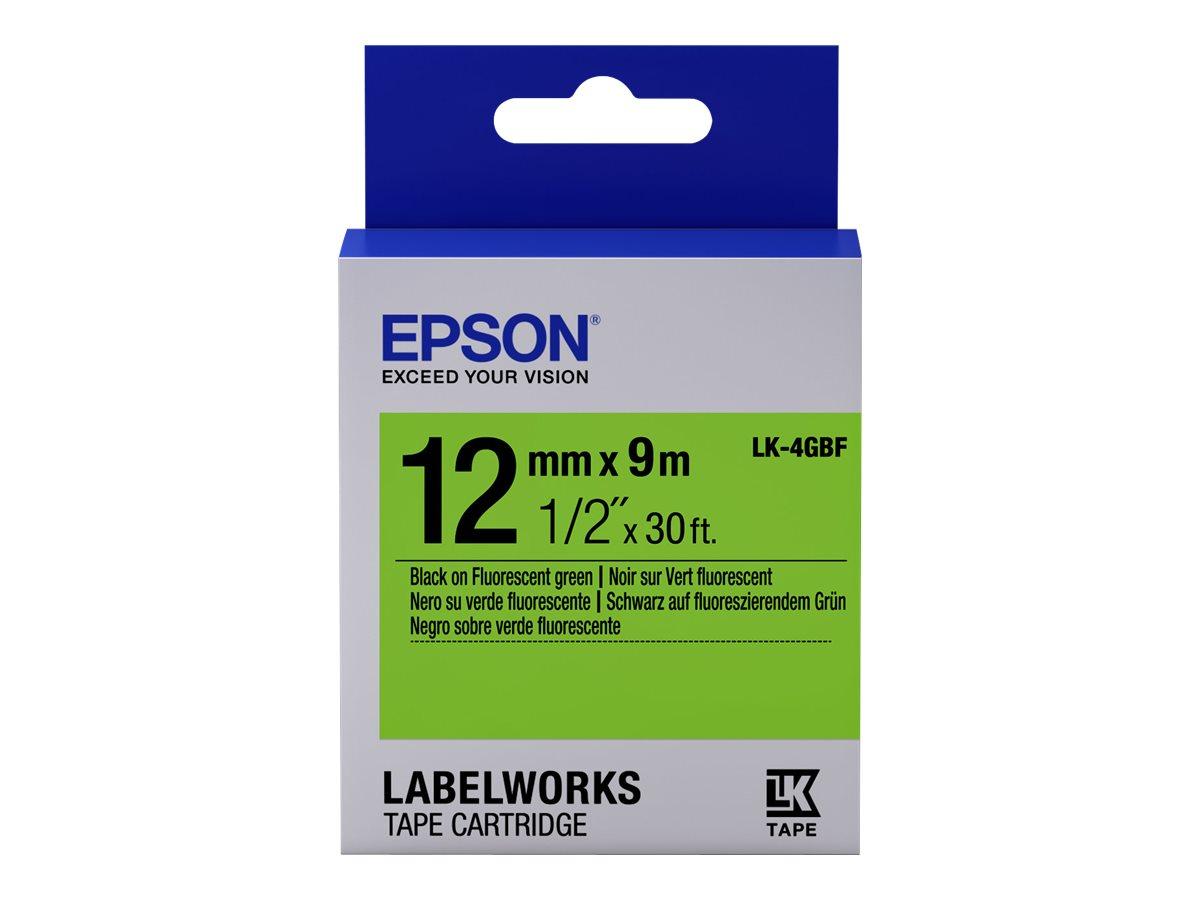 Epson LabelWorks LK-4GBF - Schwarz auf Grün - Rolle (1,2 cm x 9 m) 1 Rolle(n) Etikettenband - für LabelWorks LW-1000, 300, 400,