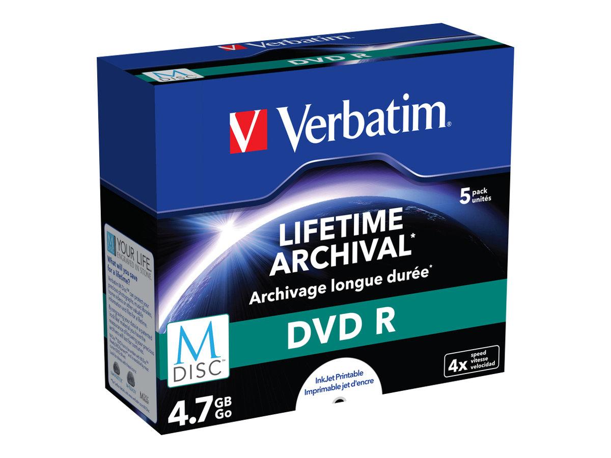 Verbatim M-Disc - 5 x DVD-R - 4.7 GB 4x - mit Tintenstrahldrucker bedruckbare Oberfläche - Jewel Case (Schachtel)