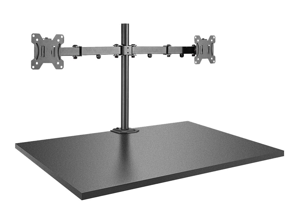 Lindy Dual Display Bracket w/ Pole & Desk Clamp - Befestigungskit für 2 Monitore (einstellbarer Arm) - Stahl - Schwarz - Bildsch