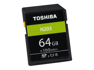 Toshiba High Speed N203 - Flash-Speicherkarte - 64 GB - UHS-I U1 / Class10 - microSDXC - Schwarz