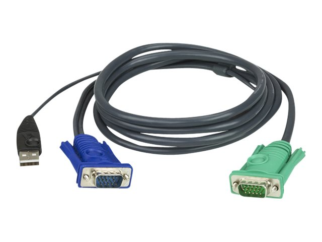 ATEN Micro-Lite 2L-5203U - Tastatur- / Video- / Maus- (KVM-) Kabel - USB, HD-15 (VGA) (M) bis DB-15 (W) - 3 m - für KVM on the N