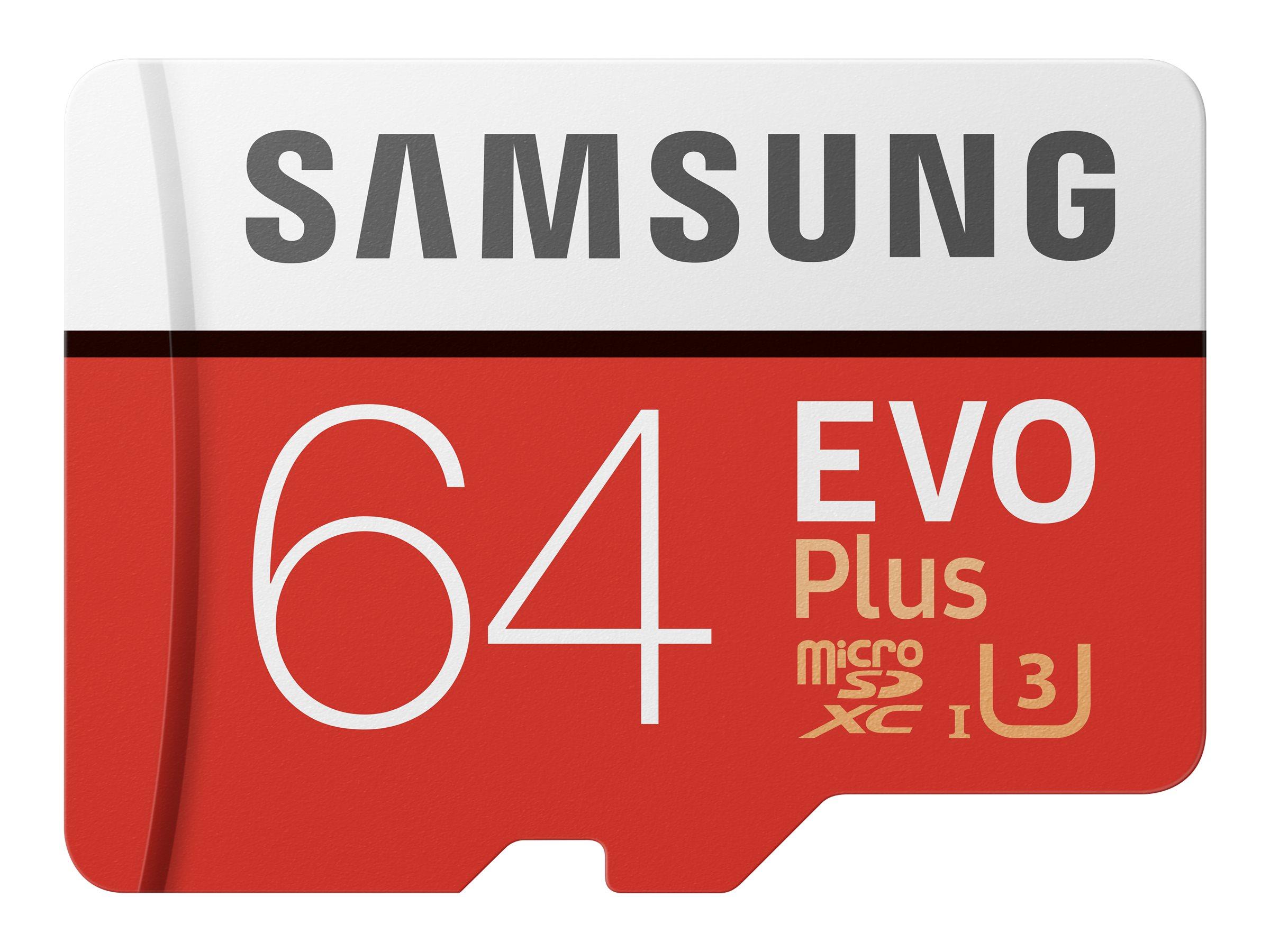 Samsung EVO Plus MB-MC64G - Flash-Speicherkarte (microSDXC-an-SD-Adapter inbegriffen) - 64 GB - UHS-I U3 / Class10 - microSDXC U