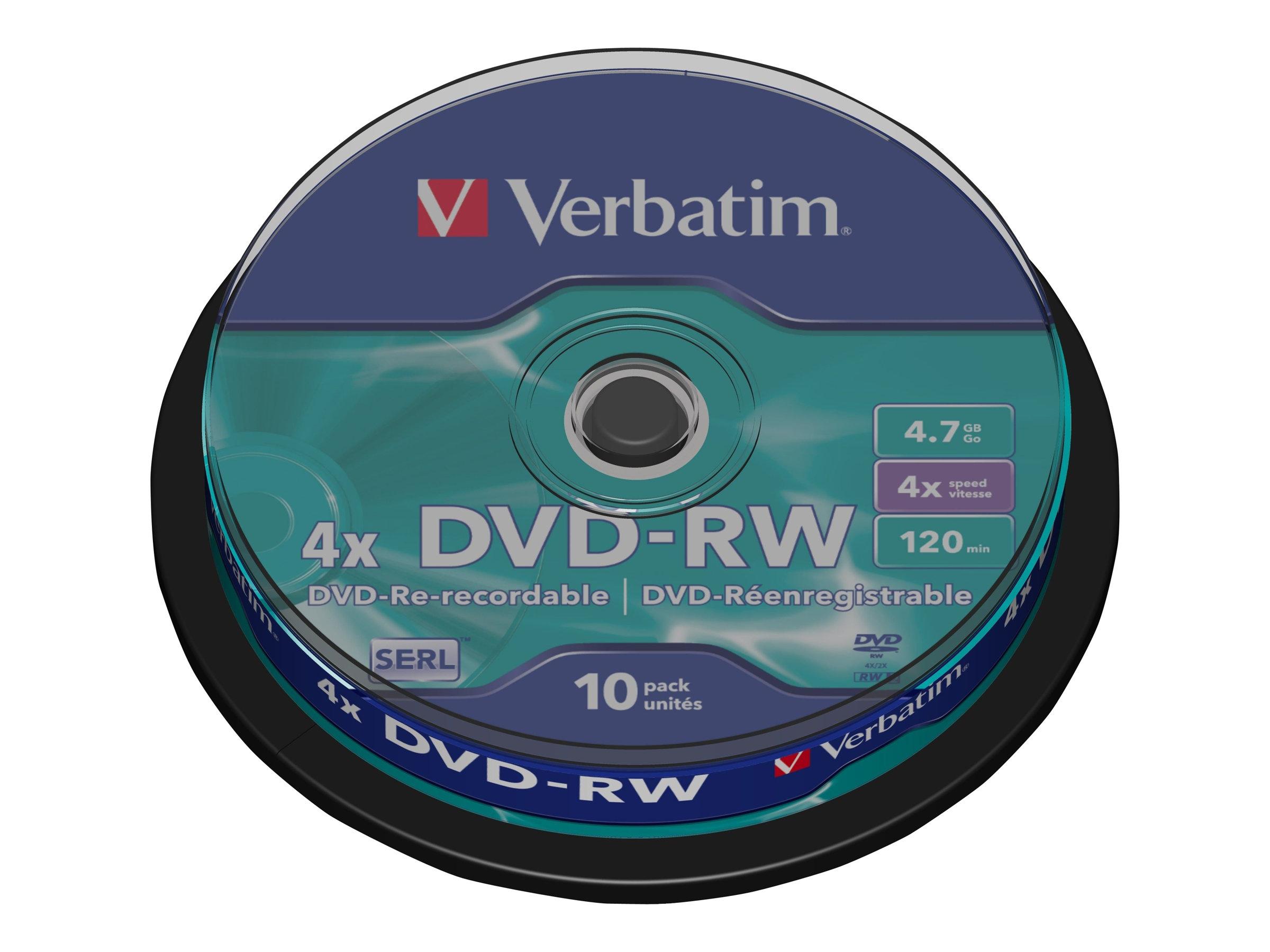 Verbatim DataLifePlus - 10 x DVD-RW - 4.7 GB 4x - mattsilber - Spindel
