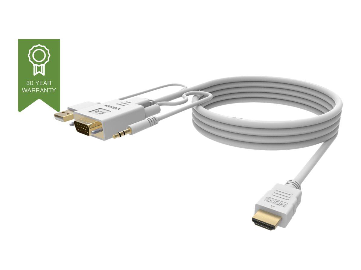 VISION Techconnect - Video- / Audiokabel - USB, HD-15 (VGA), Stereo Mini-Klinkenstecker (M) bis HDMI (M) - 2 m - Schwarz - Daume