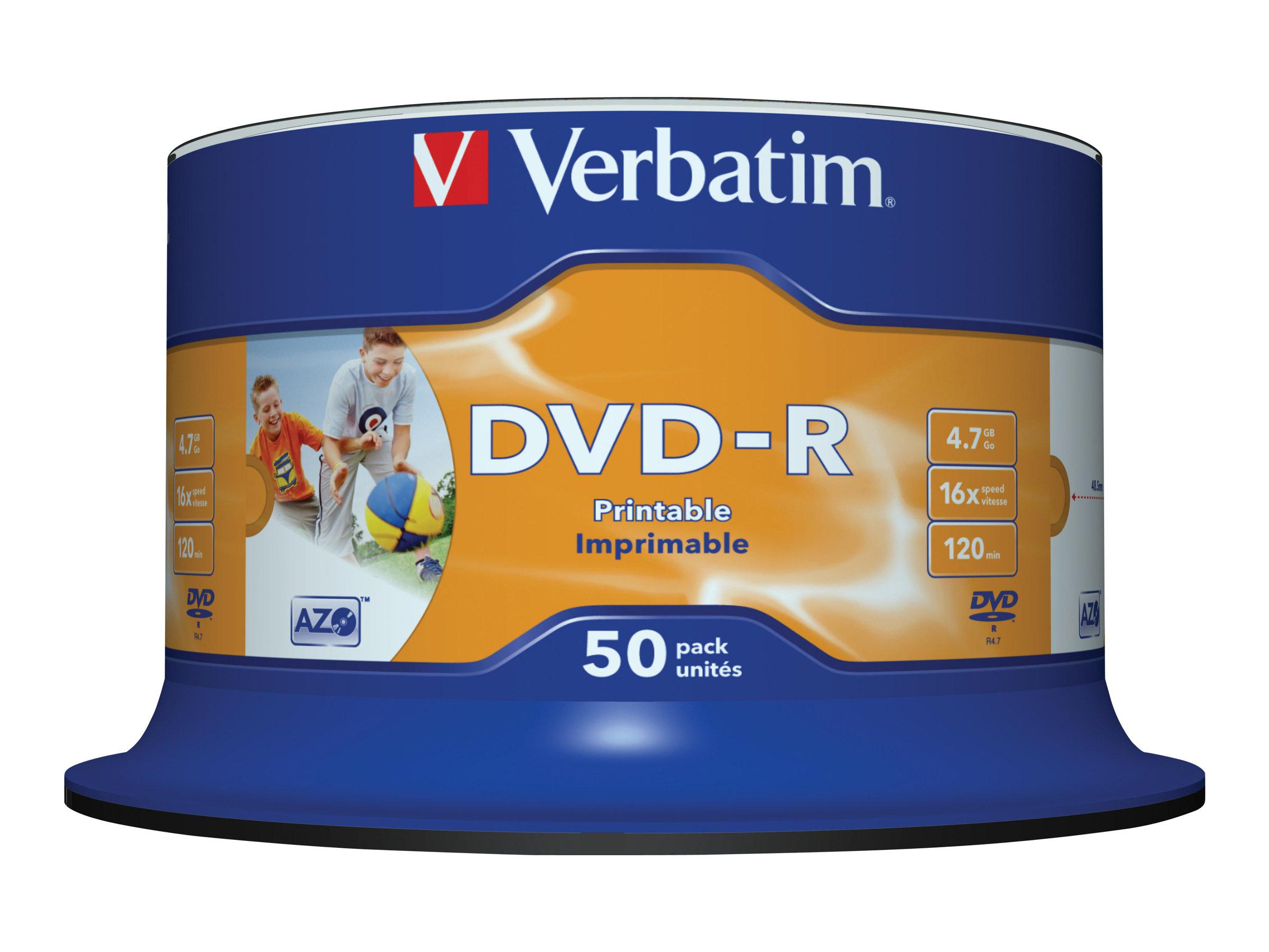 Verbatim - 50 x DVD-R - 4.7 GB 16x - breite bedruckbare Fläche für Fotos - Spindel
