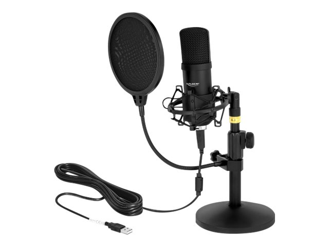 Delock Professional USB Condenser Microphone Set for Podcasting and Gaming - Mikrofon - USB - Schwarz