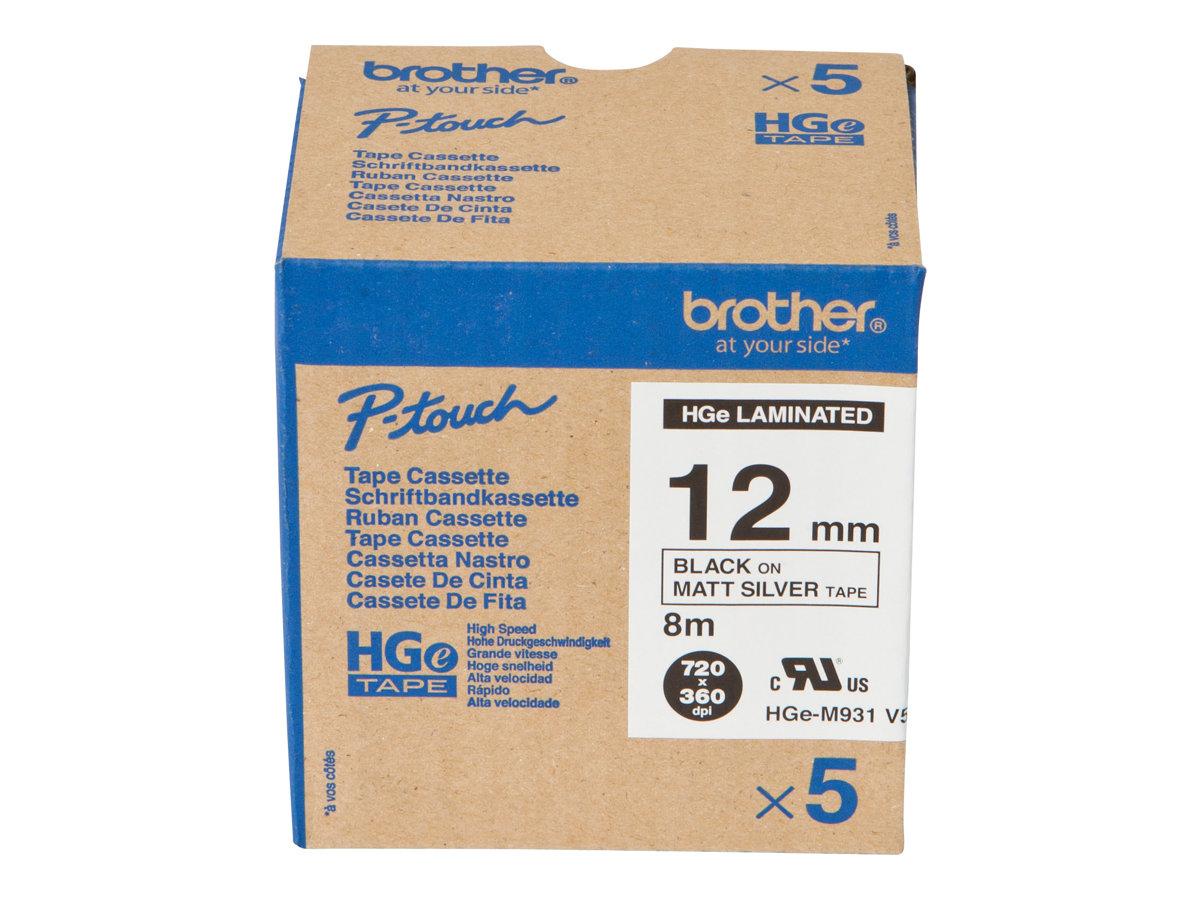 Brother HGE-M931V5 - Schwarz auf Silber - Rolle (1,2 cm x 8 m) 5 Rolle(n) laminiertes Band - für P-Touch PT-9500pc, PT-9700PC, P