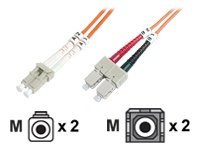 DIGITUS - Patch-Kabel - LC Multi-Mode (M) bis SC multi-mode (M) - 2 m - Glasfaser - 50/125 Mikrometer
