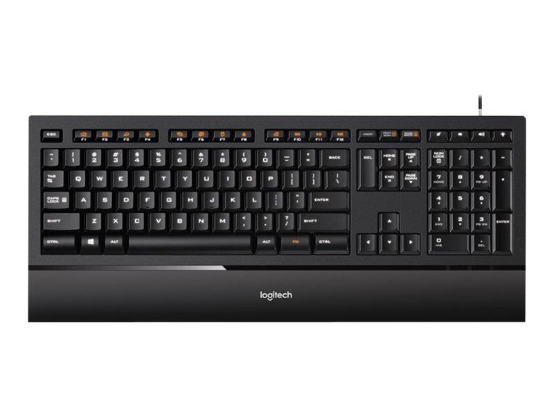 Logitech Illuminated K740 - Tastatur - hinterleuchtet - USB - USA International - orange, Classic Black