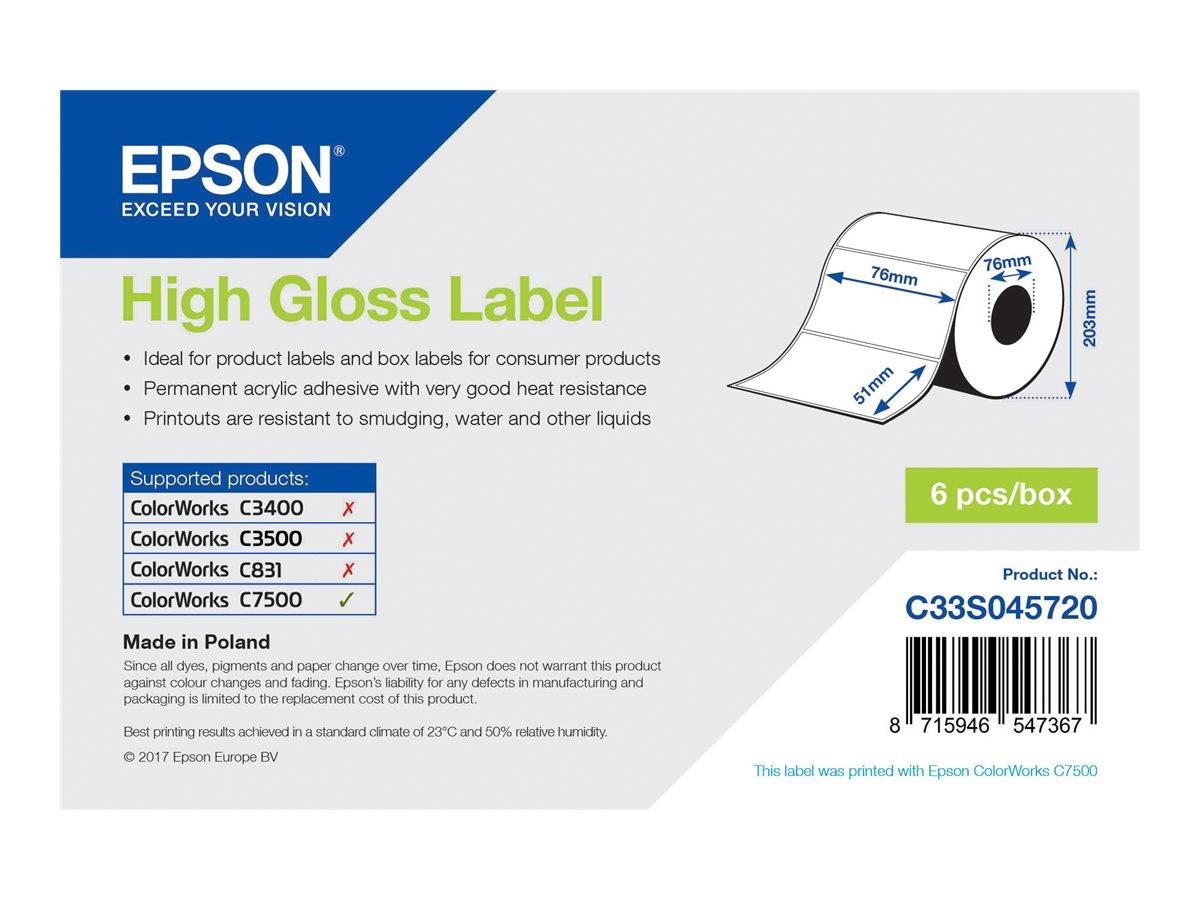 Epson - Hochglänzend - permanenter Acrylklebstoff - 76 x 51 mm 2310 Etikett(en) (1 Rolle(n) gestanzte Etiketten - für ColorWorks