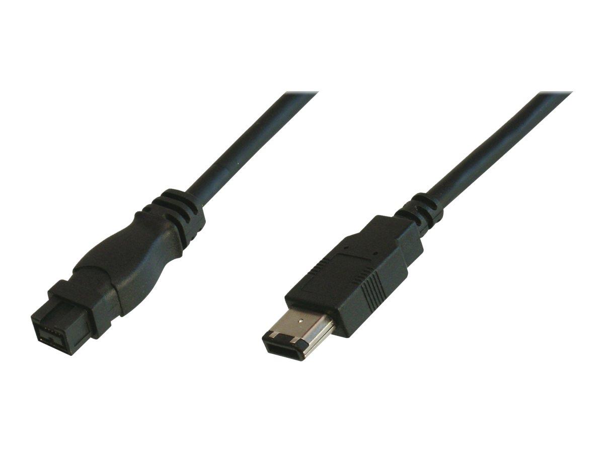 ASSMANN - IEEE 1394-Kabel - FireWire 800 (M) bis FireWire, 6-polig (M) - 1.8 m - geformt - Schwarz