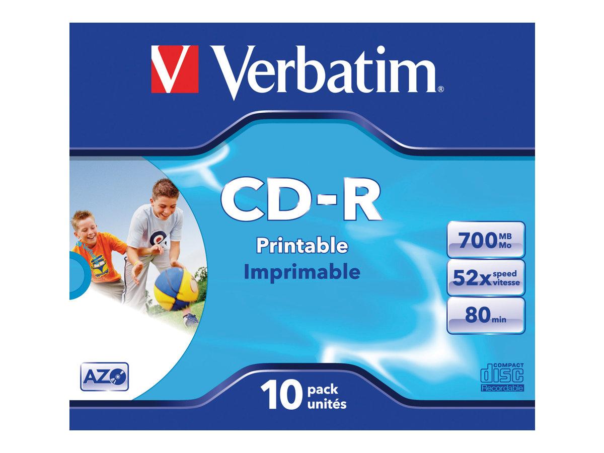 Verbatim - 10 x CD-R - 700 MB (80 Min) 52x - mit Tintenstrahldrucker bedruckbare Oberfläche, breite bedruckbare Oberfläche - Jew
