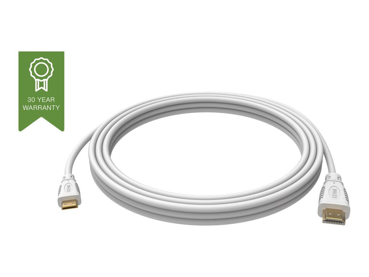 VISION Techconnect - HDMI mit Ethernetkabel - HDMI (M) bis mini HDMI (M) - 1 m - weiss - 4K Unterstützung