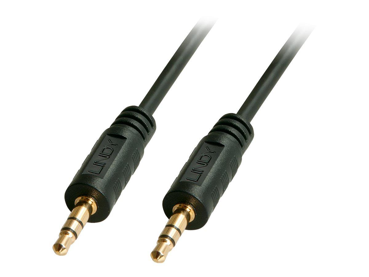 Lindy Premium - Audiokabel - Stereo Mini-Klinkenstecker (M) bis Stereo Mini-Klinkenstecker (M) - 25 cm - abgeschirmt - Schwarz