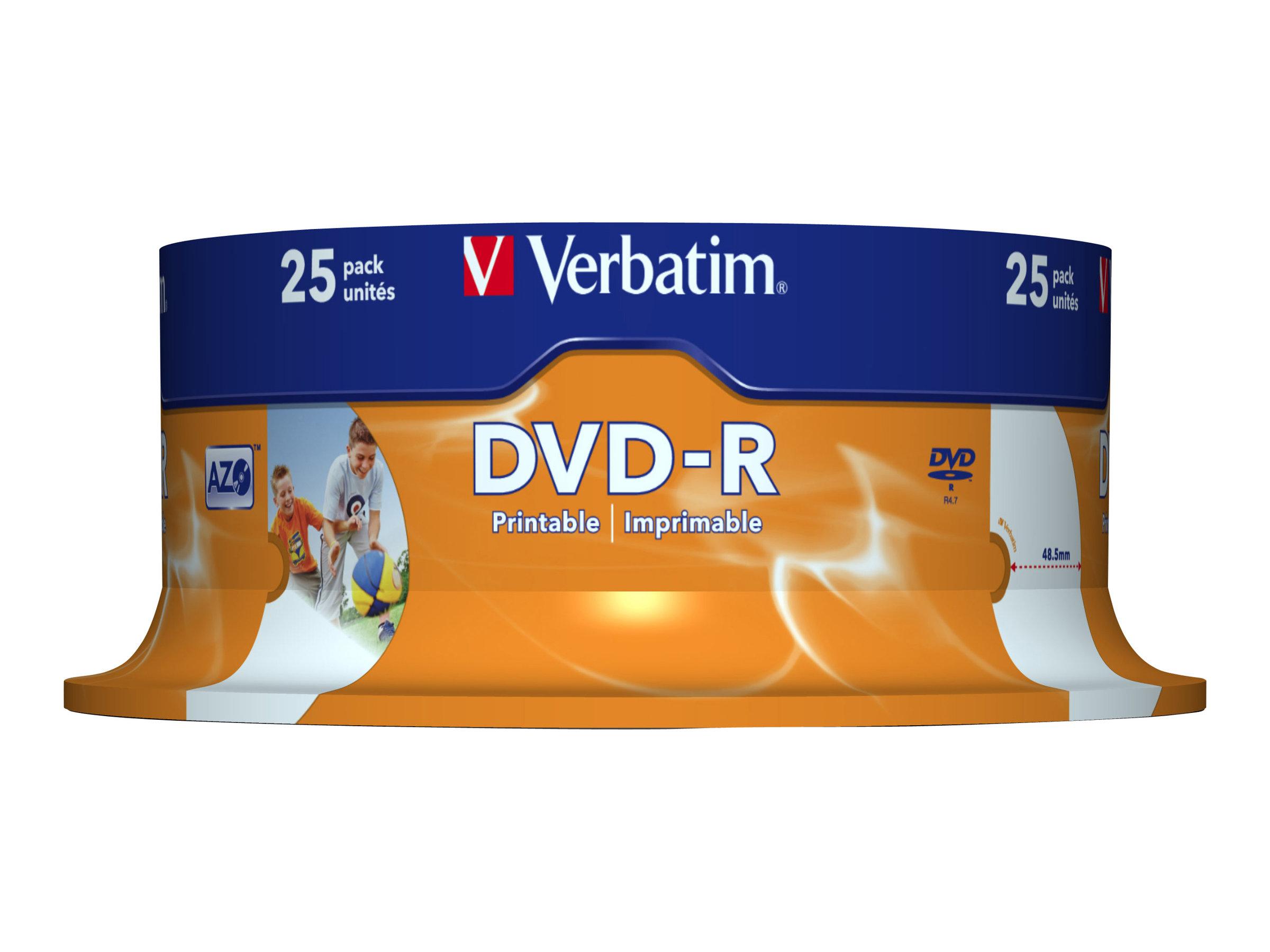 Verbatim - 25 x DVD-R - 4.7 GB 16x - breite bedruckbare Fläche für Fotos - Spindel