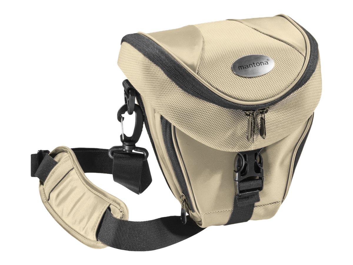 mantona Premium Colttasche - Schultertasche für Digitalkamera mit Objektiven - Polyester - beige
