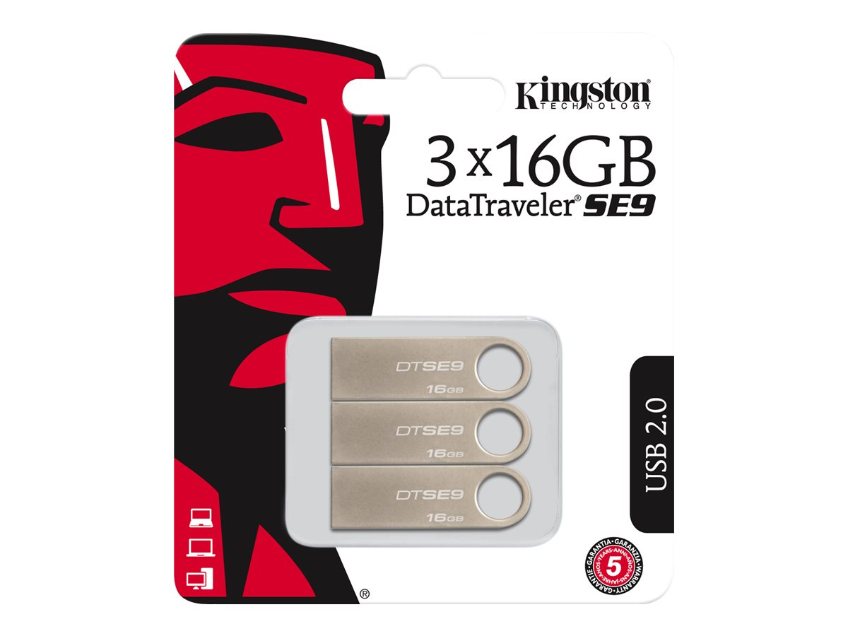 Kingston DataTraveler SE9 - USB-Flash-Laufwerk - 16 GB - USB 2.0 (Packung mit 3)