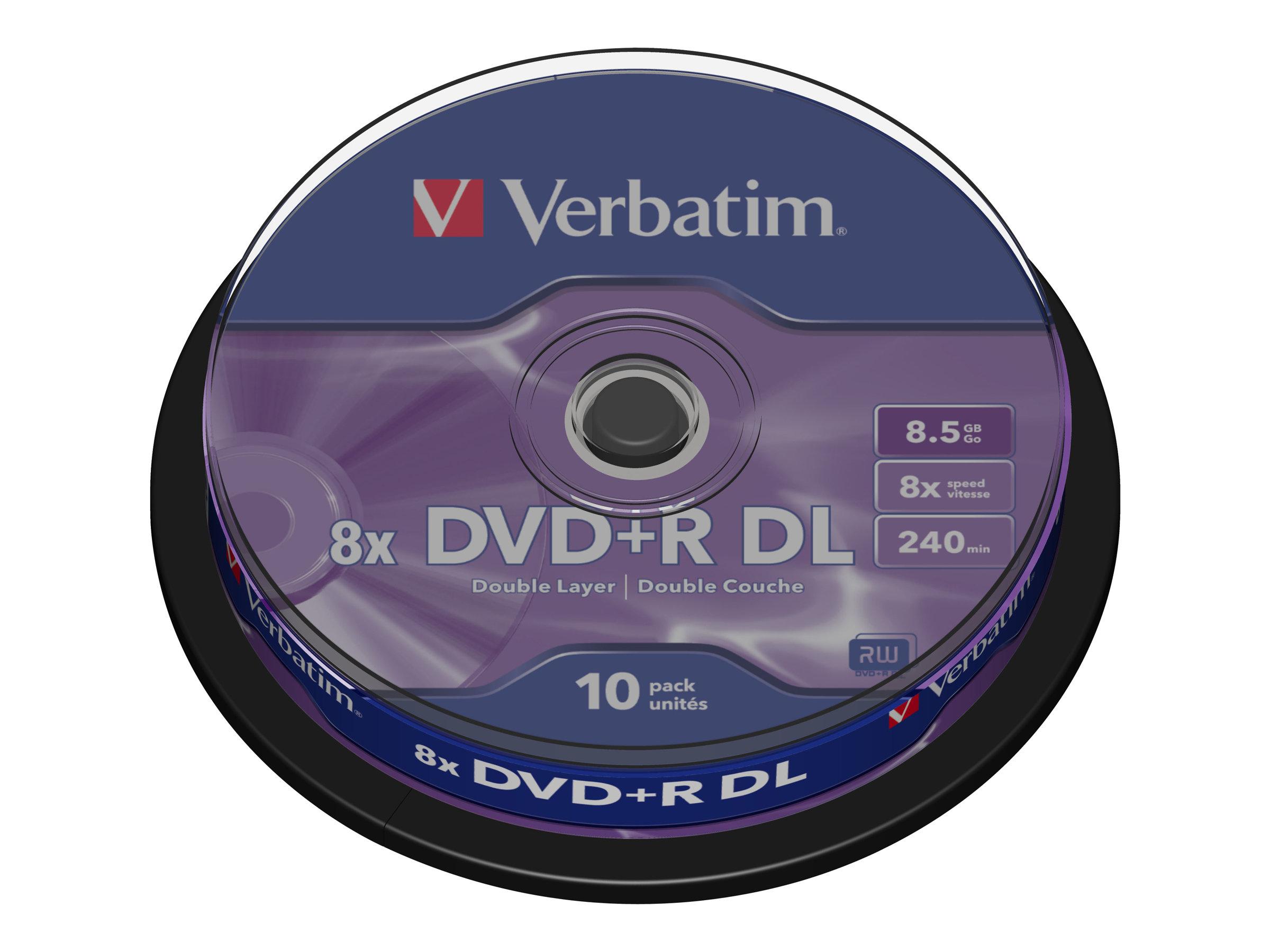 Verbatim - 10 x DVD+R DL - 8.5 GB 8x - mattsilber - Spindel