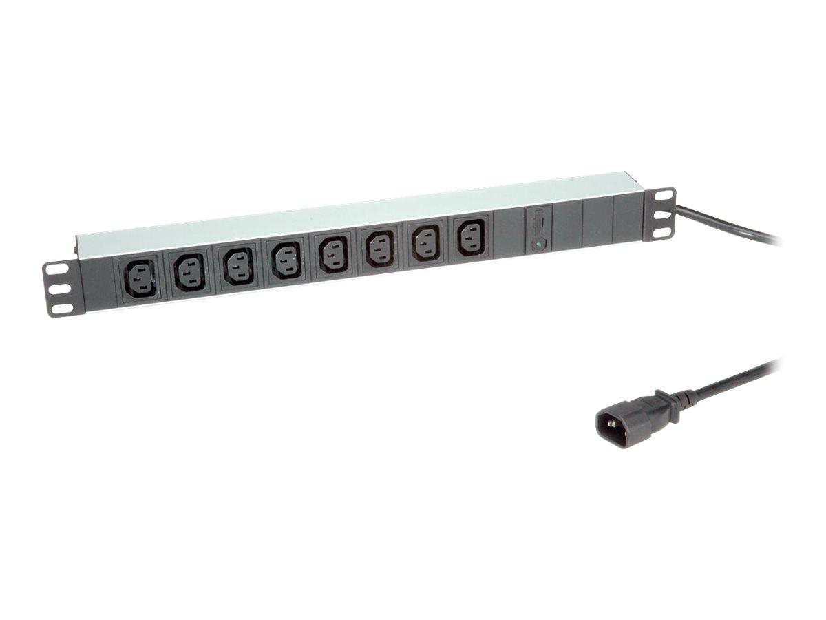 Roline - Stromverteilungseinheit (Rack - einbaufähig) - Wechselstrom 250 V - 2300 Watt - Eingabe, Eingang IEC 60320 C14