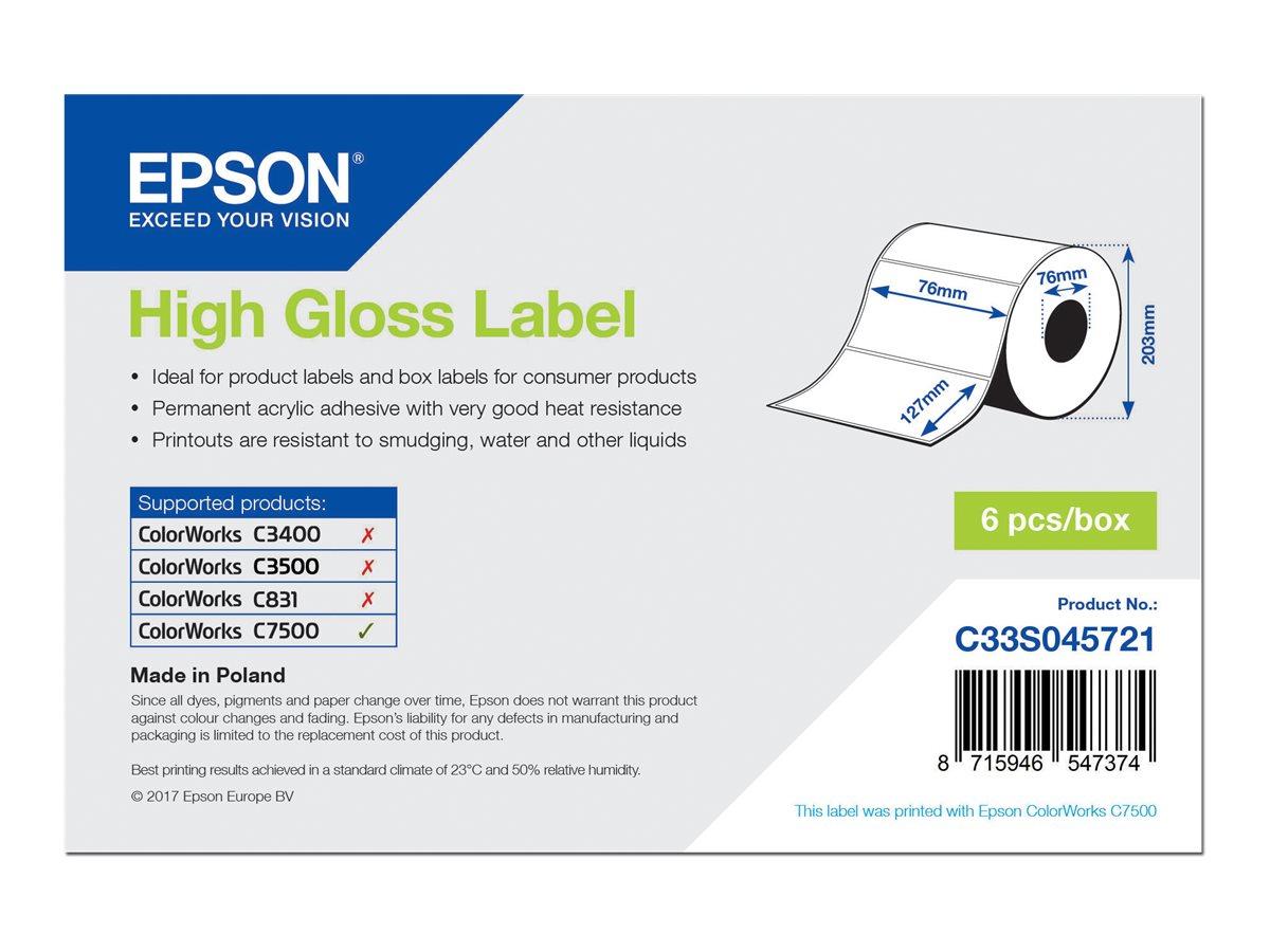 Epson - Hochglänzend - permanenter Acrylklebstoff - 76 x 127 mm 5760 Etikett(en) (6 Rolle(n) x 960) gestanzte Etiketten - für Co