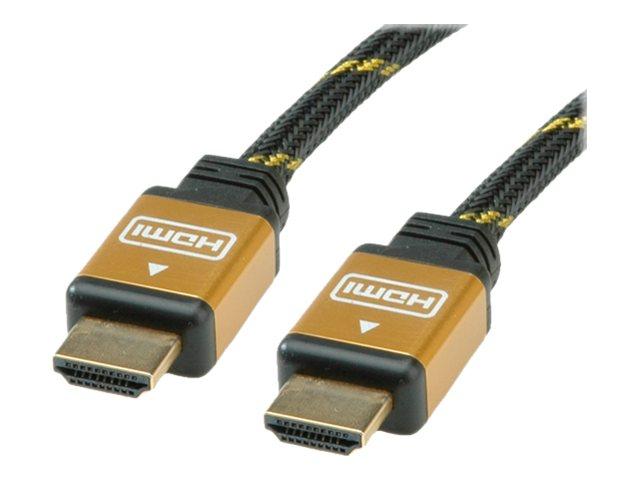 Roline Gold HDMI High Speed Cable - HDMI-Kabel - HDMI (M) bis HDMI (M) - 20 m - Doppelisolierung - Schwarz, Gold