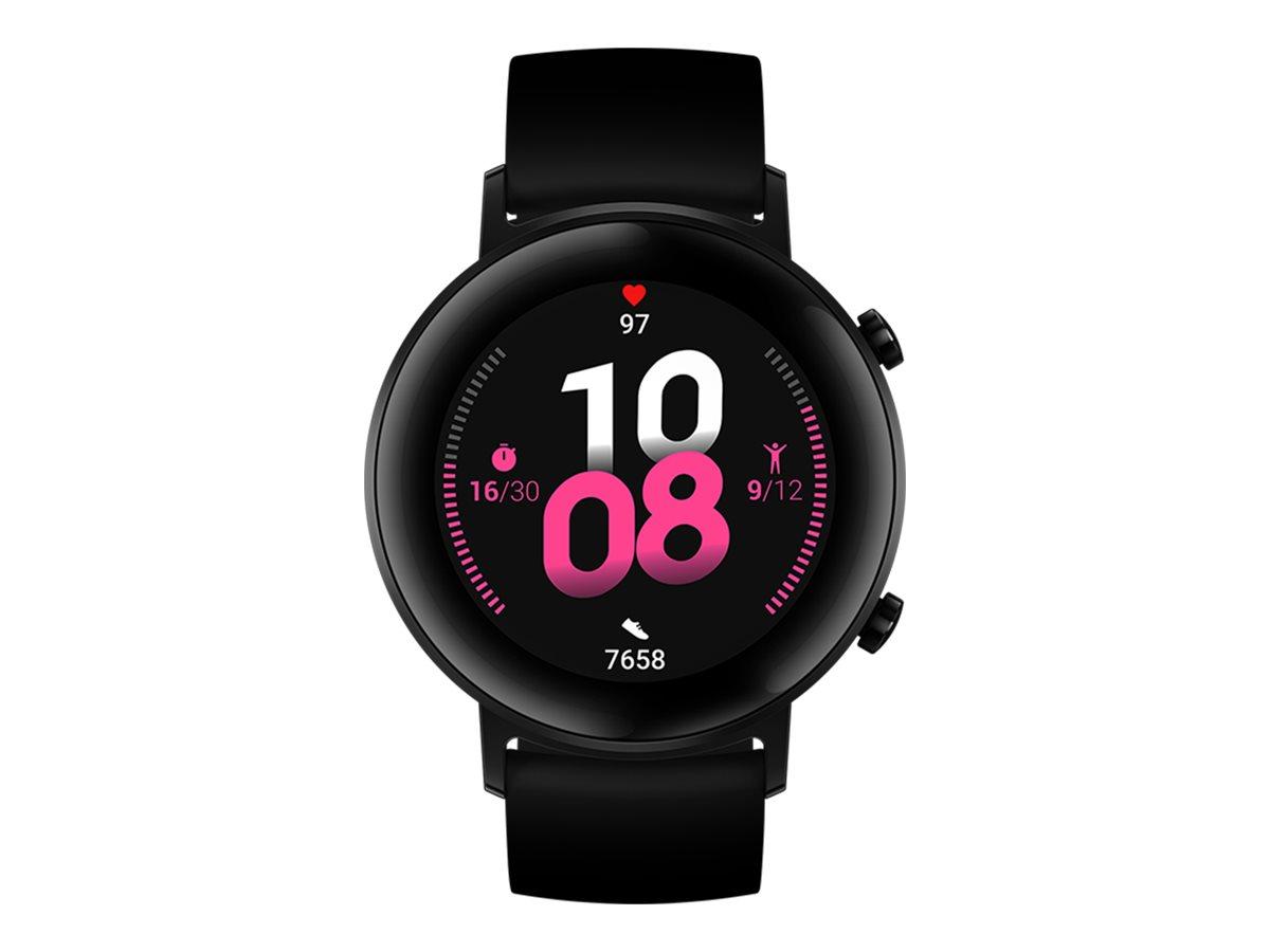 Huawei Watch GT 2 - Sport - 42 mm - schwarzes Edelstahl - intelligente Uhr mit Riemen - Flouroelastomer