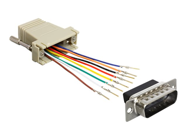 DeLOCK Adapter Sub-D 15 Pin male > RJ45 female assembly kit - Serieller Adapter - RJ-45 (W) bis DB-15 (M) - Grau