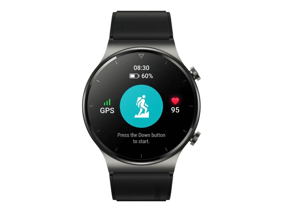 Huawei Watch GT 2 Pro - Sport - Night Black - intelligente Uhr mit Riemen - Flouroelastomer - schwarz
