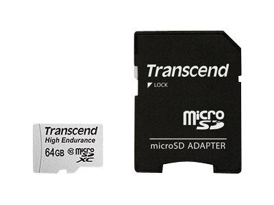 Transcend Hochbelastbare - Flash-Speicherkarte (SD-Adapter inbegriffen) - 64 GB - UHS-I U1 / Class10 - microSDXC