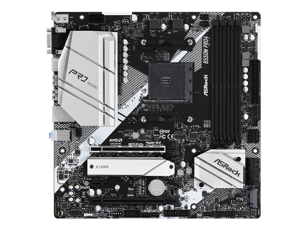 ASRock B550M Pro4 - Motherboard - micro ATX - Socket AM4 - AMD B550 - USB-C Gen2, USB 3.2 Gen 1, USB 3.2 Gen 2