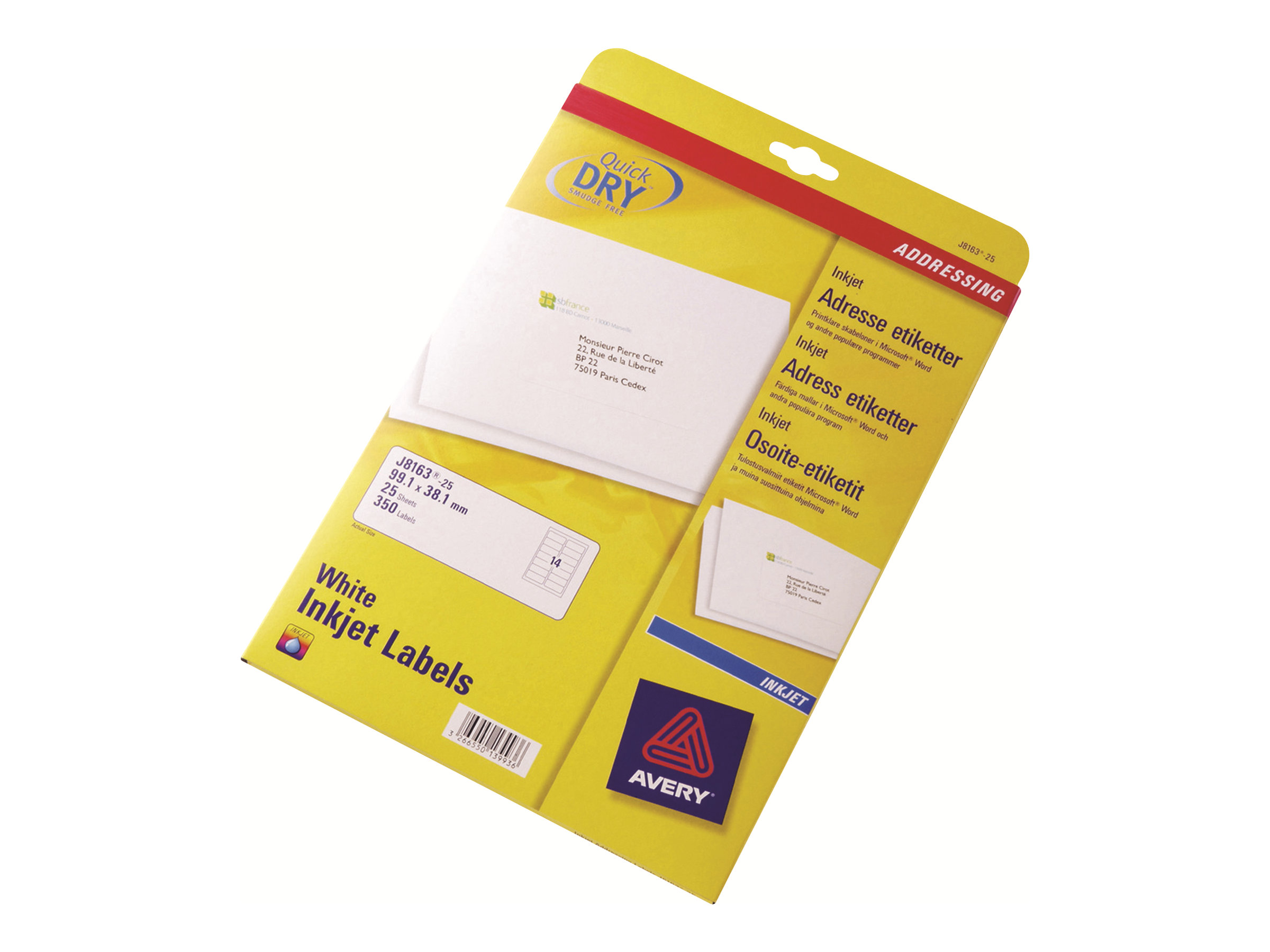 Avery - Weiss - 99.1 x 139 mm 100 Etikett(en) (25 Bogen x 4) Adressetiketten