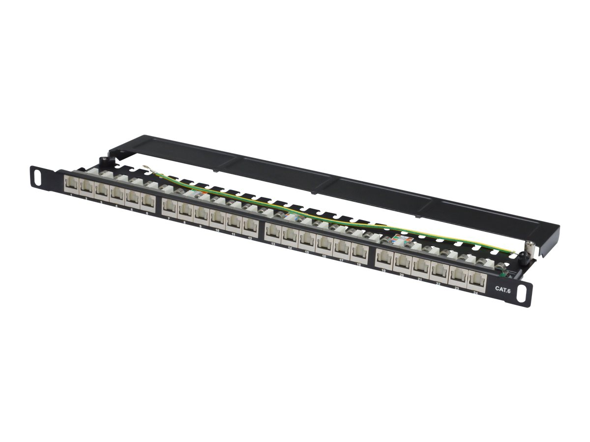 DIGITUS DN-91624S-SL-SH - Patch Panel - RJ-45 X 24 - Schwarz, RAL 9005 - 0.5U - 48.3 cm (19