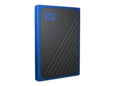 WD My Passport Go WDBMCG0010BBT - Solid-State-Disk - 1 TB - extern (tragbar) - USB 3.0 - Schwarz mit kobaltblauer Verzierung